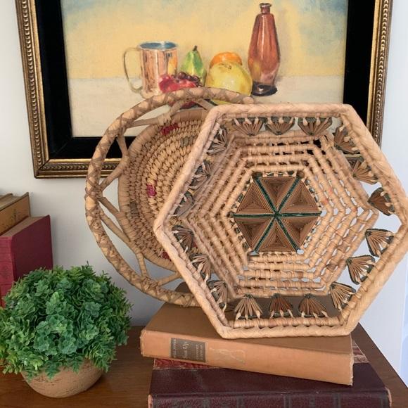 Two Vintage Boho Baskets